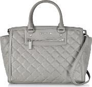 Michael Kors , Selma Large Pearl Grey Quilted Leather Satchel