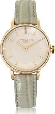 Locman ,  1960 Rose Gold Pvd Stainless Steel Women's Watch Wlight Grey Python Embossed Leather Strap