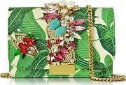 Gedebe , Clicky Snake Leather Leaves Clutch