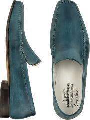Pakerson , Petrol Blue Italian Handmade Leather Loafer Shoes