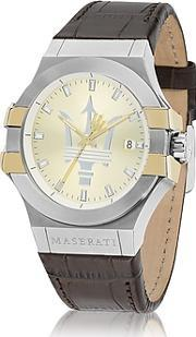 Maserati ,  Potenza Two Tone Stainless Steel And Brown Leather Strap Men's Watch