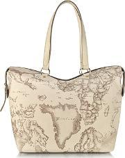 Alviero Martini 1a Classe ,  Large Geo Safari Coated Canvas Tote Wcream Leather Details