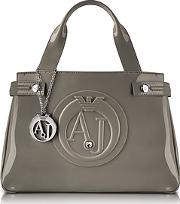 Armani Jeans ,  Medium Taupe Faux Patent Leather Tote
