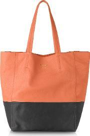 Le Parmentier , Large Color Block Nappa Leather Tote
