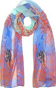 Mila Schon ,  Light Blue Coral Reef Printed Chiffon Silk Stole