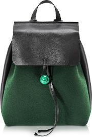 Corto Moltedo , Rose Green Felt And Black Leather Backpack