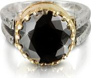 Try , Black Cubic Zirconia Sterling Silver & Rose Gold Ring