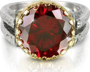 Try , Red Cubic Zirconia Sterling Silver & Rose Gold Reversible Ring