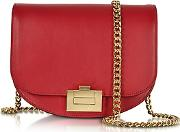 Victoria Beckham ,  Cherry Leather Box With Chain Shoulder Bag