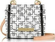 Vionnet ,  Mosaic 15 Orchid White & Black Puzzle Print Leather Micro Crossbody Bag