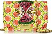 Gedebe ,  Clicky Snake Leather Watermelon Clutch