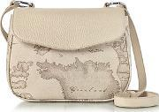 Alviero Martini 1a Classe ,  Small Geo Safari Print And Cream Grained Leather Crossbody Bag