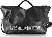 Dsquared2 , Oversized Black Leather Duffle Bag