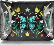 Mary Katrantzou ,  Graphic Butterfly Black Nappa Leather Pouch