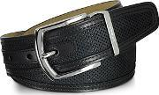 Moreschi ,  St. Barth Black Perforated Nubuck And Leather Belt