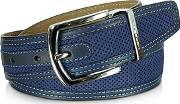 Moreschi ,  St. Barth Navy Blue Perforated Nubuck And Leather Belt