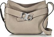 Tory Burch ,  Gemini Link Belted French Gray Leather Small Hobo
