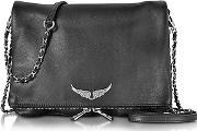 Zadig & Voltaire ,  Black Grainy Leather Rock Xl Clutch