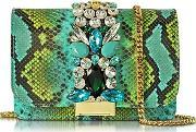 Gedebe ,  Clicky Turquoise And Green Python Leather Clutch