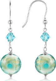 House Of Murano , Vortice Turquoise Swirling Murano Glass Bead Earrings
