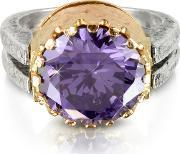 Try , Purple Amethyst Cubic Zirconia Sterling Silver & Rose Gold Reversible Ring