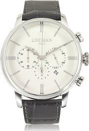 Locman ,  1960 Stainless Steel Men's Chronograph Watch Wbrown Croco Embossed Leather Strap