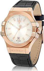 Maserati ,  Potenza Rose Gold Tone Stainless Steel And Black Leather Strap Men's Watch