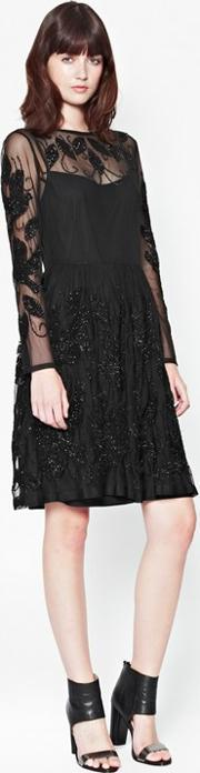 French Connection , Socoro Sequins Semi Sheer Dress Black