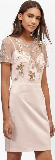 French Connection , Horizon Light Embellished Dress Jasmine Pink