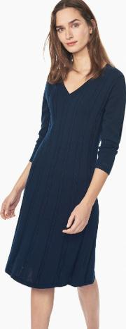 Gant , Flared Cable Dress Evening Blue