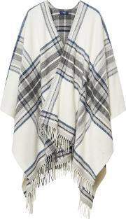 Gant , Checked Lambswool Poncho Cream