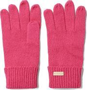 Gant , Solid Knit Gloves Rich Pink