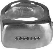 Rosa Maria , Seven Black Dimaond Solid Silver Ring Womens