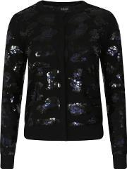 Sibling , Sequin Leopard Buttoned Cardigan Black