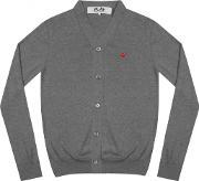 Comme Des Garcons Play , Play Men's Small Red Heart Cardigan Grey