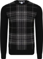 Comme Des Garcons Shirt , Dogtooth Check Knitted Jumper Black