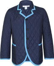 Comme Des Garcons Shirt Boy , Quilted Blazer Jacket Navy Blue