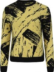 Sibling , Soulages Paint Jacquard Sweater Yellowblack