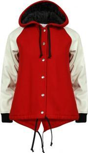 Comme Des Garcons Girl , Wool Hooded Bomber Jacket Red