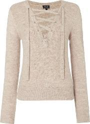 Bardot , Long Sleeved Lace Up Jumper, Beige