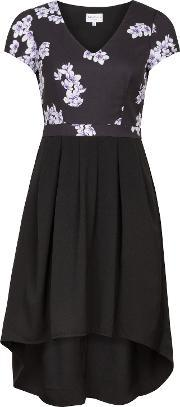 Wolf & Whistle , Drawn Blossom Cut Out Dress, Multi Coloured