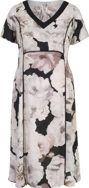 Chesca , Rose Print Dress With Contrast Trim, Multi Coloured