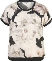 Chesca , Rose Print Top With Contrast Piping Trim, Multi Coloured