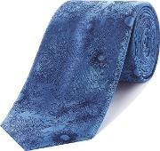 Simon Carter , Linear Flower Silk Tie, Aqua