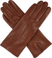 Dents , Ladies Silk Lined Leather Glove, Cognac
