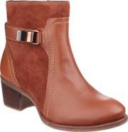 Hush Puppies , Fondly Nellie Zip Up Ankle Boots, Cognac