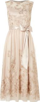 Sleeveless Floral Embroidered Dress With Belt, Gold