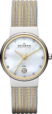 Skagen , 355ssgs Ancher Silver And Gold Ladies Mesh Watch, Gold