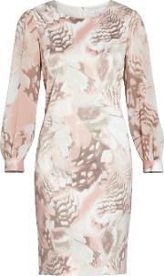 Gina Bacconi , Taupe Blush Abstract Print Dress, Beige