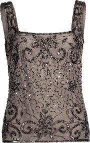 Gina Bacconi , Bead And Sequin Cami, Grey